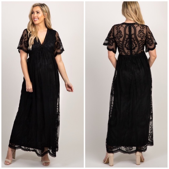 787c12ff4bbc7 Pinkblush Lace Mesh Overlay Maternity Maxi Dress. M_5c778234d6dc5235fb1477f2